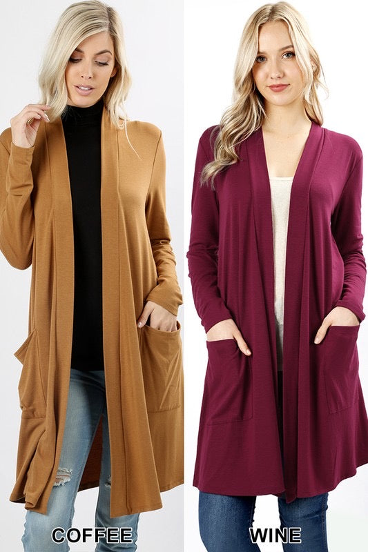 Winona Curvy Long Sleeve Cardigan-Wine