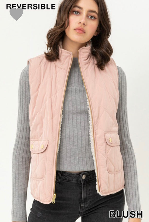 Remi Quilted Reversible Vest-Blush