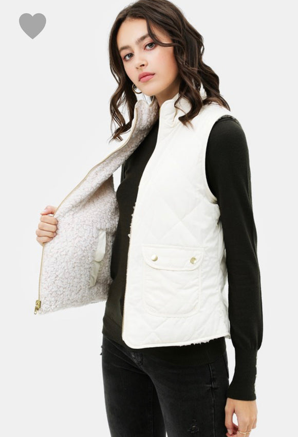 Remi Quilted Reversible Vest-Ivory