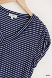 Jen Striped V Neck Top-Navy