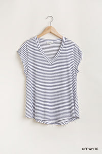 Jen Striped V Neck Top-Off White
