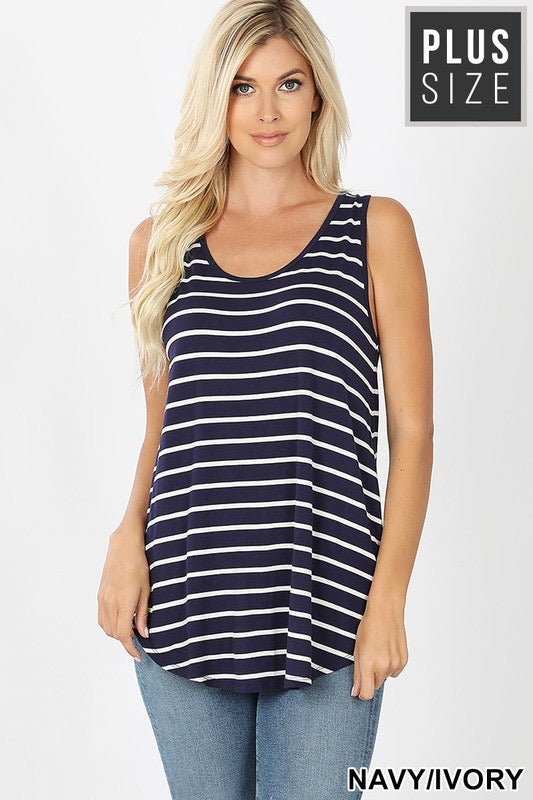 Brianna Striped Tank Top Plus-Navy/Ivory