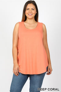 Sandy Relaxed Fit Tank Top Plus-Deep Coral