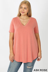 Karly Basic V Neck Top-Ash Rose