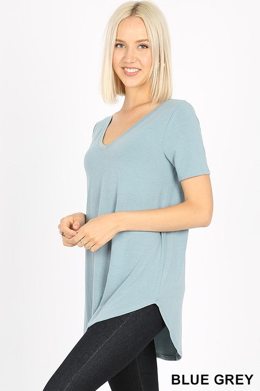 Karly Basic V Neck Top-Blue Grey