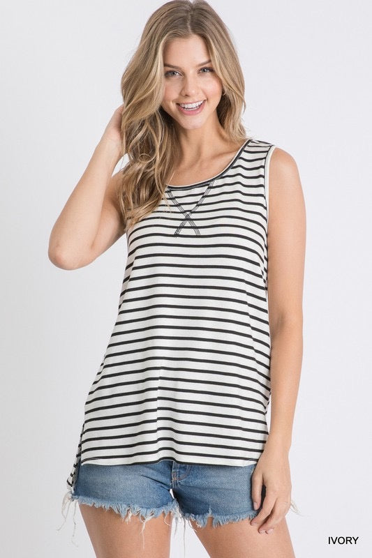 Lucy Striped Tank Top-Ivory