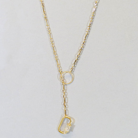 Tiff Lock Y Necklace Gold-Gold