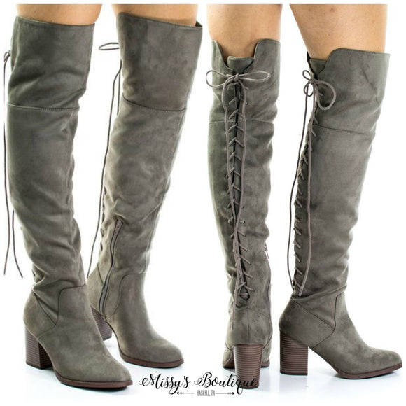 Aspen Lace Up Boot - Taupe Suede