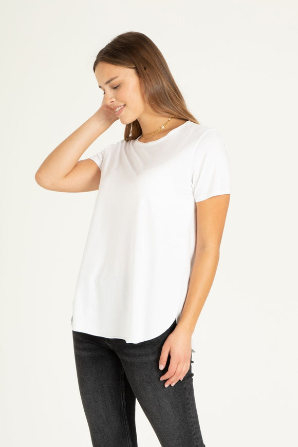 Julie Basic Crew Neck Tee-White