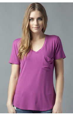 Phoenix Pocket V-Neck Tee - Magenta