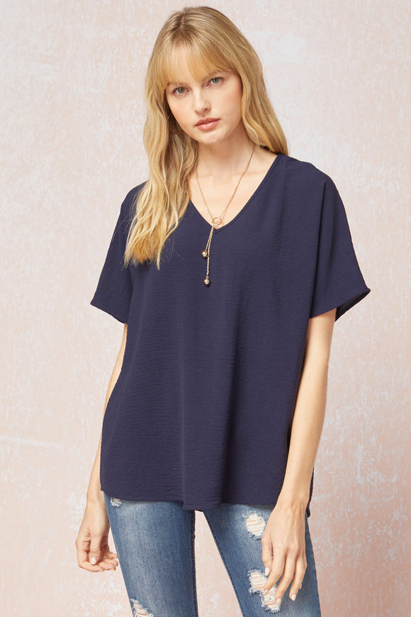 Melanie Asymmetrical V-Neck Top-Navy