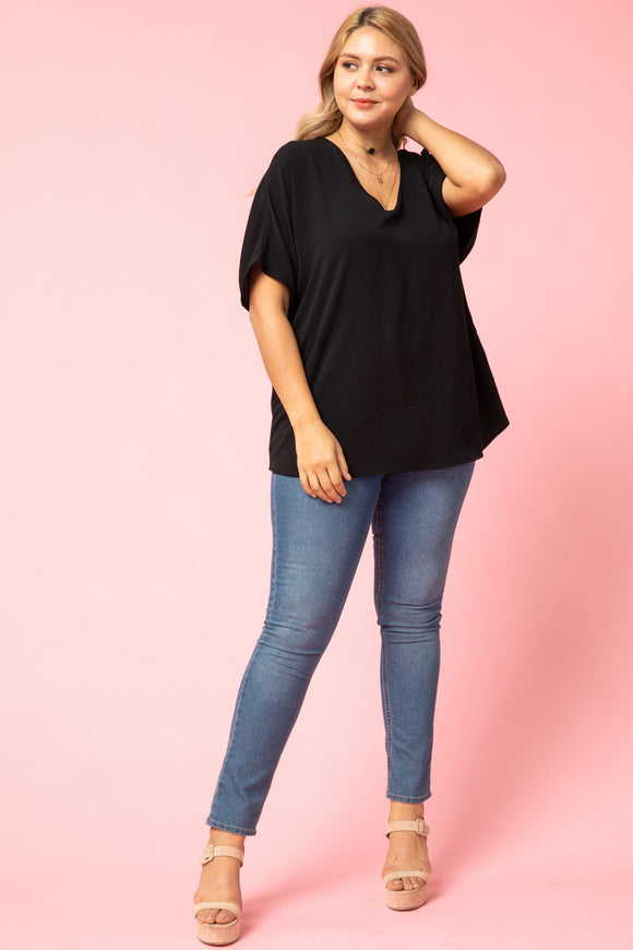 Melanie Asymmetrical V-Neck Top-Plus Blk