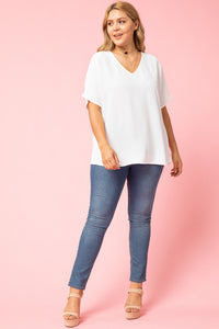 Melanie Asymmetrical V-Neck Top-Plus WHITE