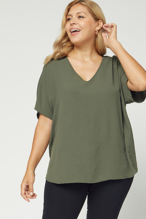 Melanie Asymmetrical V Neck Top-Plus-oLIVE