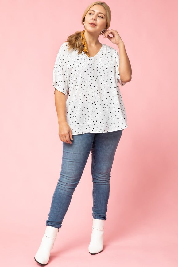 Bette White Spotted V Neck Top-Plus