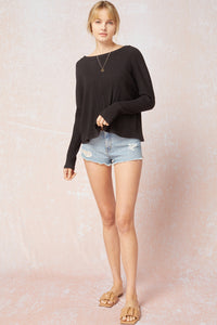 Jenntrie Ribbed Long Sleeve Top