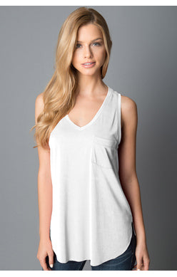 Esther Pocket Tank-White