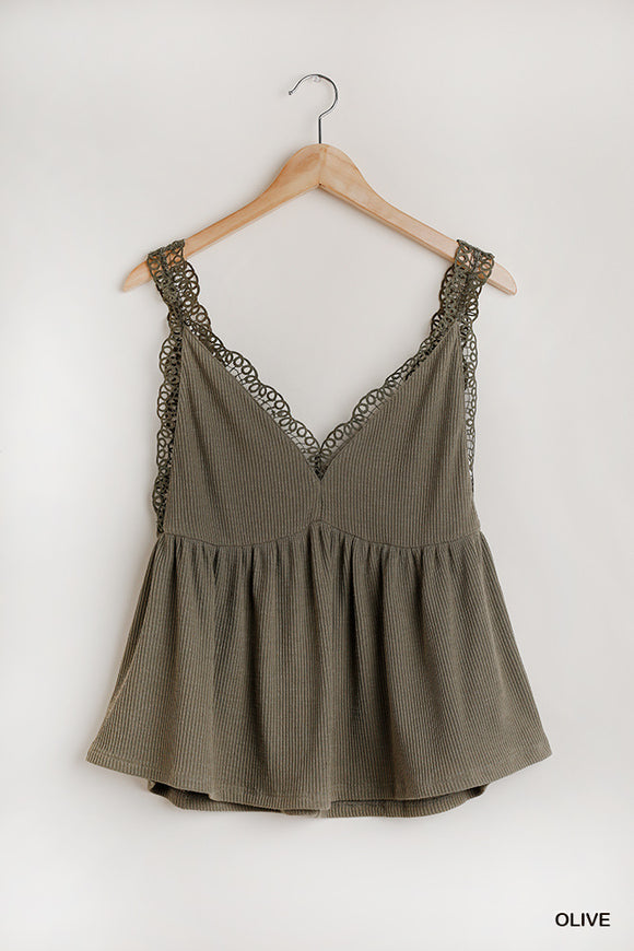 Katy Sleeveless V-Neck Top -Olive