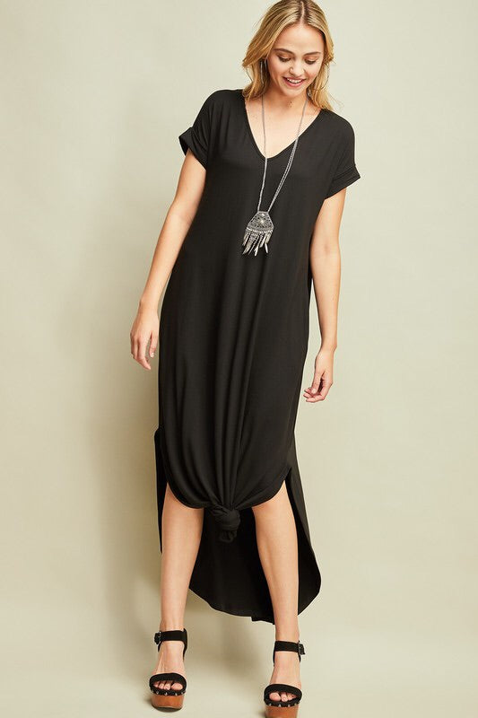 Madison V-Neck Maxi-Black