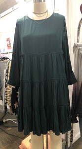 Bren Hunter Green Tiered Dress