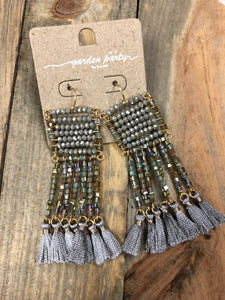 Gabriella Grey Beaded Fringe Earrings