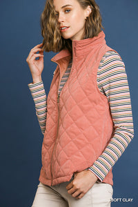 Tara Quilted Vest-Soft Clay
