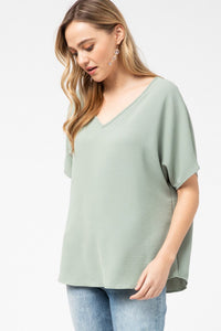 Melanie Asymmetrical V Neck Top- Plus- Sage