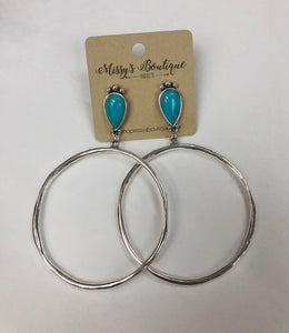 Erika  Hoop Earrings With Turquoise Post