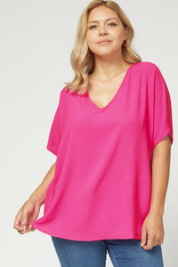 Melanie Asymmetrical V Neck Top-Plus-Hot Pink