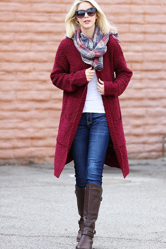 Bria Pop Corn Knit Cardigan-Burgandy