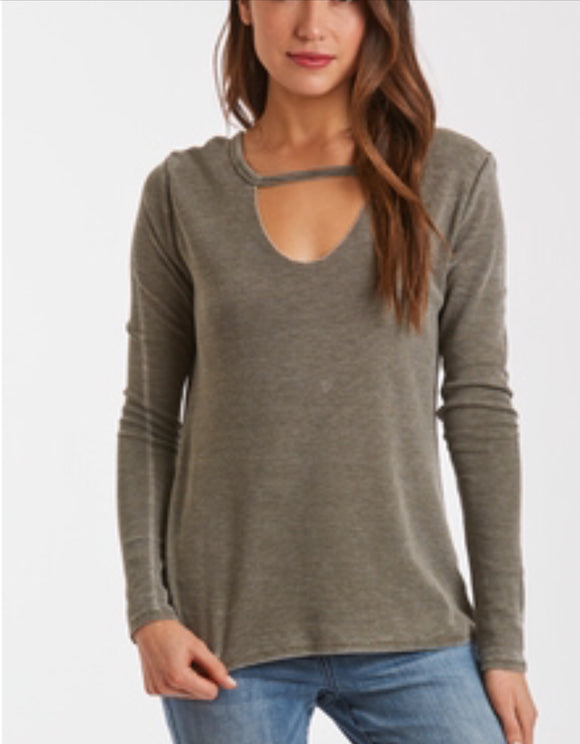Ryan Thermal Cutout Neck Tee