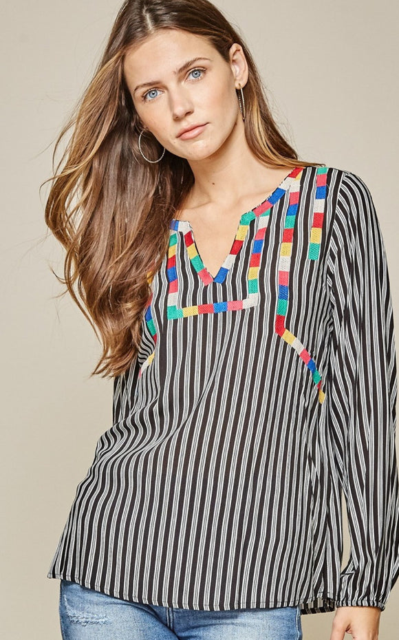 Ivonca Striped Top With Color Block Embroidery
