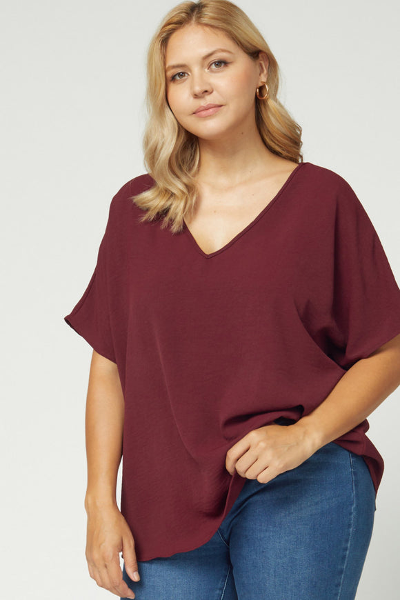 Melanie Asymmetrical V Neck Top-Plus-Burgundy