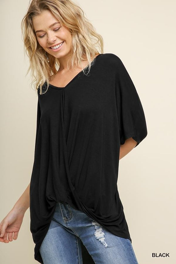 Shae Relaxed Fit Surplice Top-Black