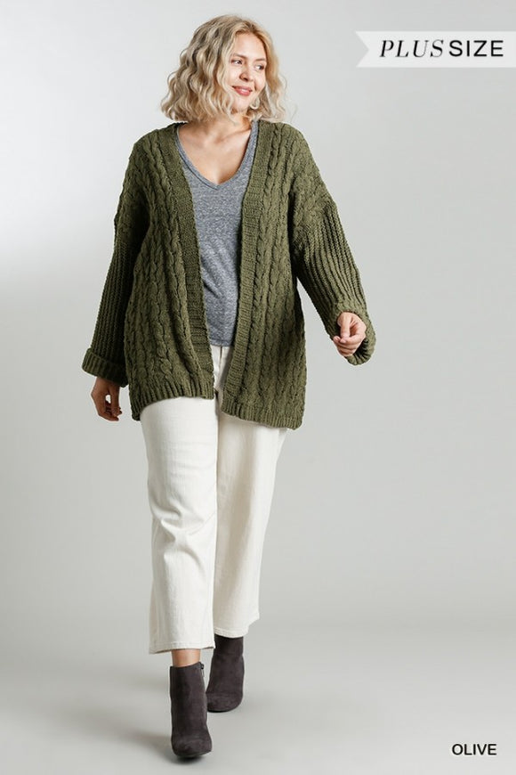 Kait Cable Knit Cardigan-Curvy-Olive