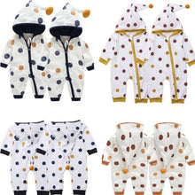"""Warm In Dots"" Baby Hooded Zip-Up Romper - My Modern Kid"
