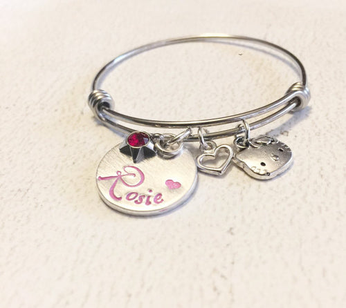 Customized Hand Stamped Child's Name Bracelet