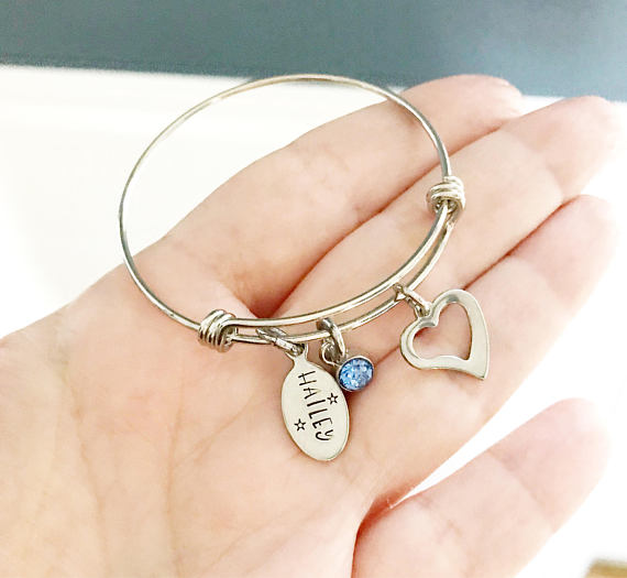 Customized Hand Stamped Child's Heart Name Bracelet - My Modern Kid