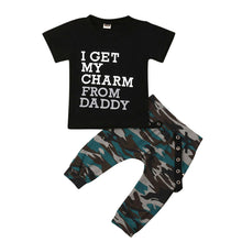 """I Get My Charm From Daddy"" Camouflage Boys Set"