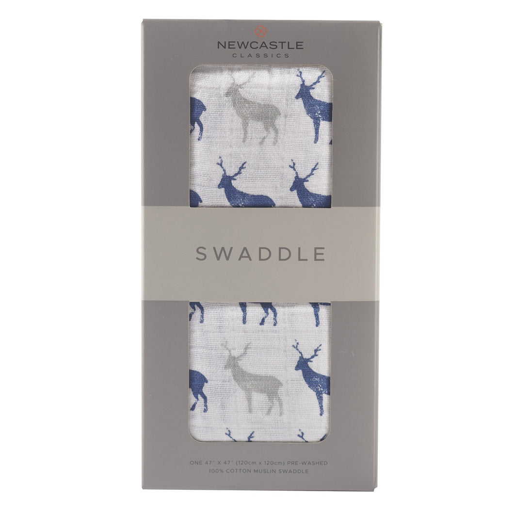Blue Deer 100% Natural Cotton Muslin Swaddle - My Modern Kid