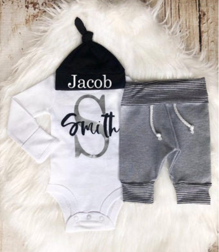Baby Boy First & Last Name Personalized Outfit - My Modern Kid