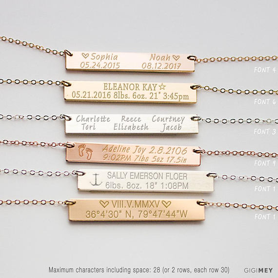 Baby's Name & Birth Stats Necklace - My Modern Kid