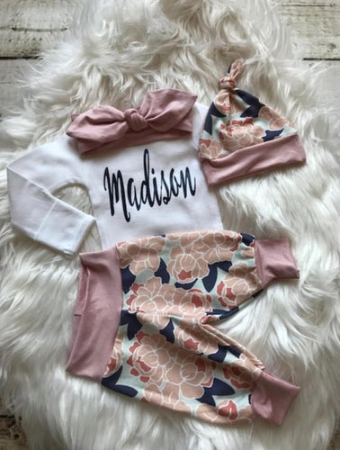 Personalized Newborn Baby Girl Coming Home Outfit - My Modern Kid