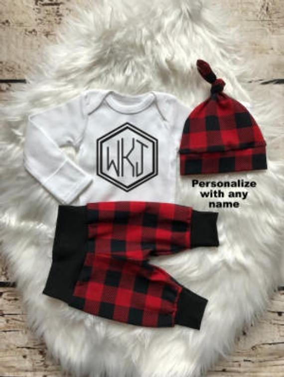Monogrammed Plaid Baby Boy Coming Home Outfit - My Modern Kid