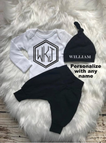 Monogrammed Black Baby Boy Coming Home Outfit - My Modern Kid