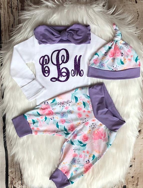 Monogrammed Baby Girl Coming Home Outfit - My Modern Kid