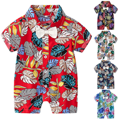 Little Gents Baby Boys Leaf Print Romper - My Modern Kid