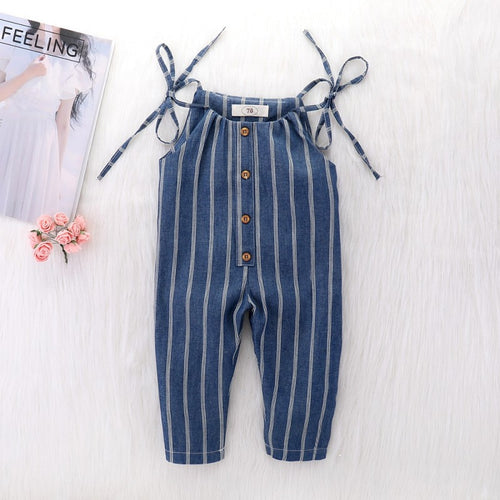 Baby Girls Navy & Stripes Jumpsuit Romper - My Modern Kid
