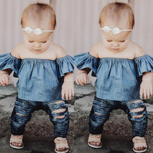 Baby Girls Off-The-Shoulder Denim Top - My Modern Kid