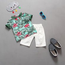 Boys Vacation Flower T-shirt Top and Shorts 2 Piece Set - My Modern Kid